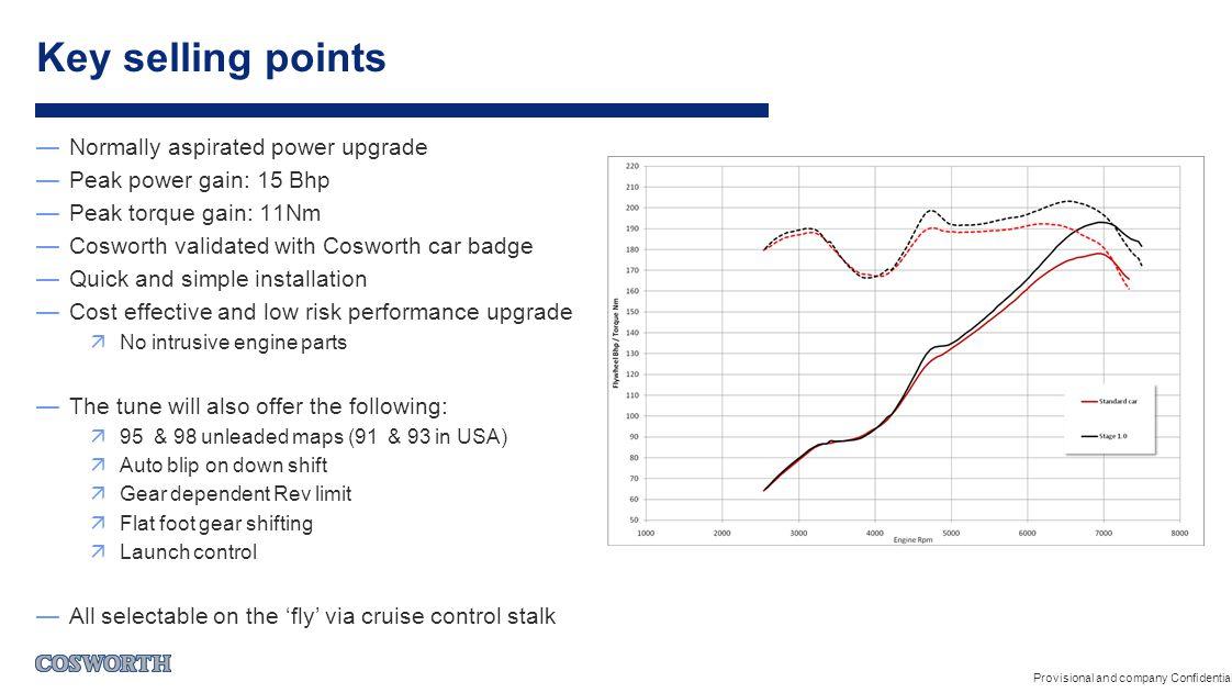 —Normally aspirated power upgrade —Peak power gain: 15 Bhp —Peak torque gain: 11Nm —Cosworth validated with Cosworth car badge —Quick and simple insta