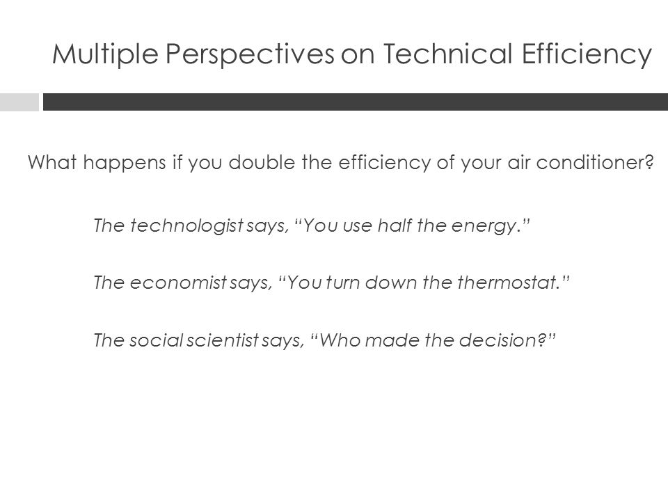 Multiple Perspectives on Technical Efficiency What happens if you double the efficiency of your air conditioner.