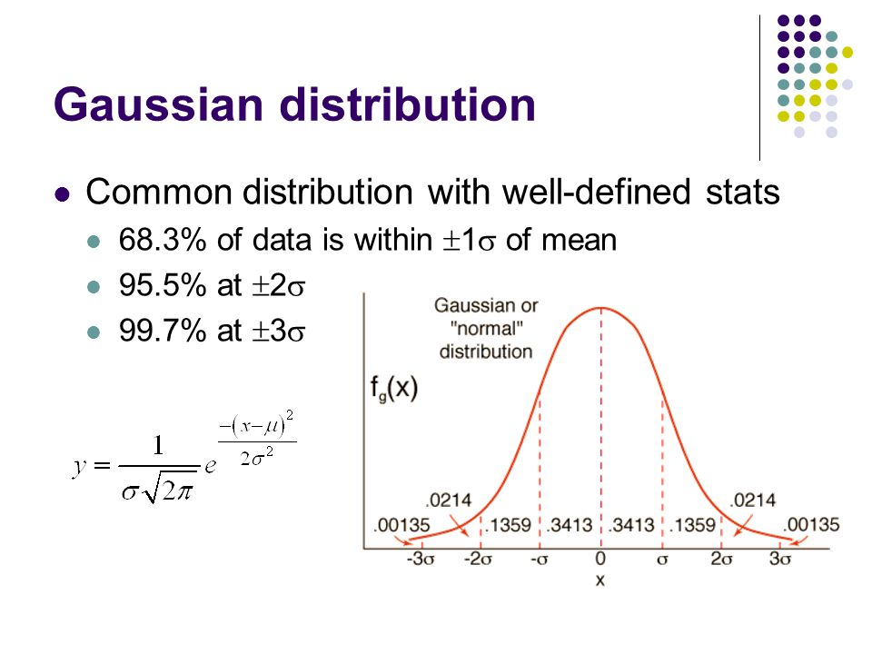 Gaussian distribution Common distribution with well-defined stats 68.3% of data is within  1  of mean 95.5% at  2  99.7% at  3 