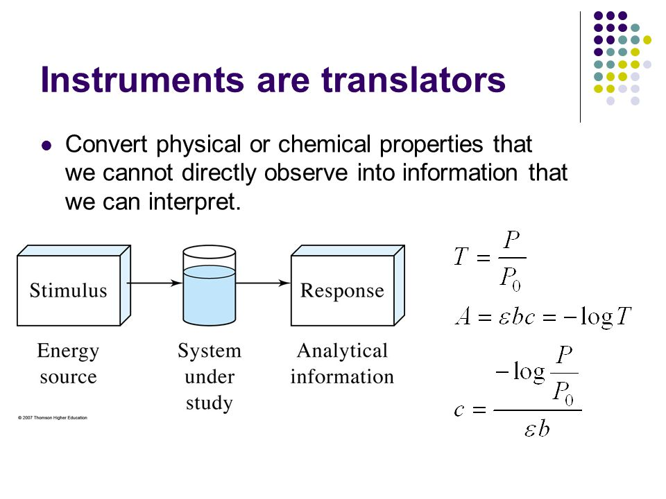 Instruments are translators Convert physical or chemical properties that we cannot directly observe into information that we can interpret.
