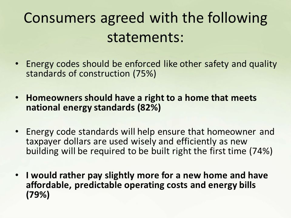 Consumers agreed with the following statements: Energy codes should be enforced like other safety and quality standards of construction (75%) Homeowners should have a right to a home that meets national energy standards (82%) Energy code standards will help ensure that homeowner and taxpayer dollars are used wisely and efficiently as new building will be required to be built right the first time (74%) I would rather pay slightly more for a new home and have affordable, predictable operating costs and energy bills (79%)