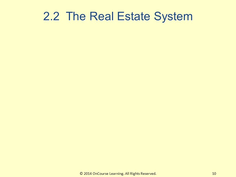 2.2 The Real Estate System 10© 2014 OnCourse Learning. All Rights Reserved.