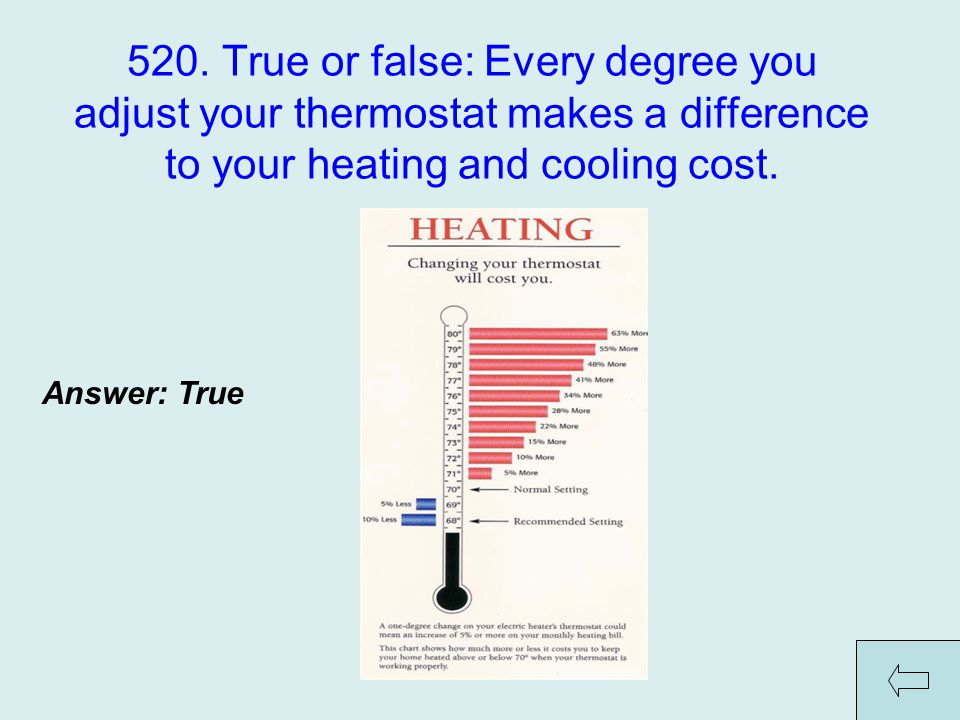 520. True or false: Every degree you adjust your thermostat makes a difference to your heating and cooling cost. Answer: True