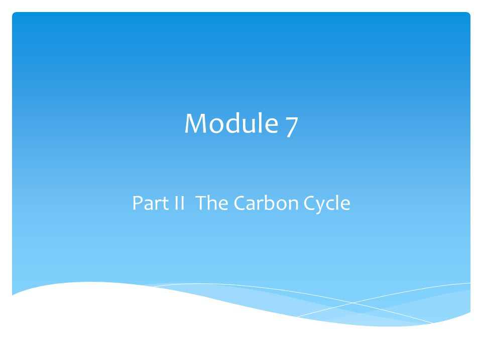 Module 7 Part II The Carbon Cycle