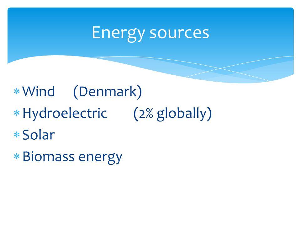  Wind(Denmark)  Hydroelectric(2% globally)  Solar  Biomass energy Energy sources