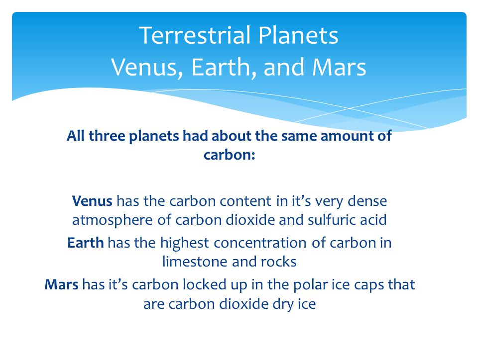 All three planets had about the same amount of carbon: Venus has the carbon content in it's very dense atmosphere of carbon dioxide and sulfuric acid