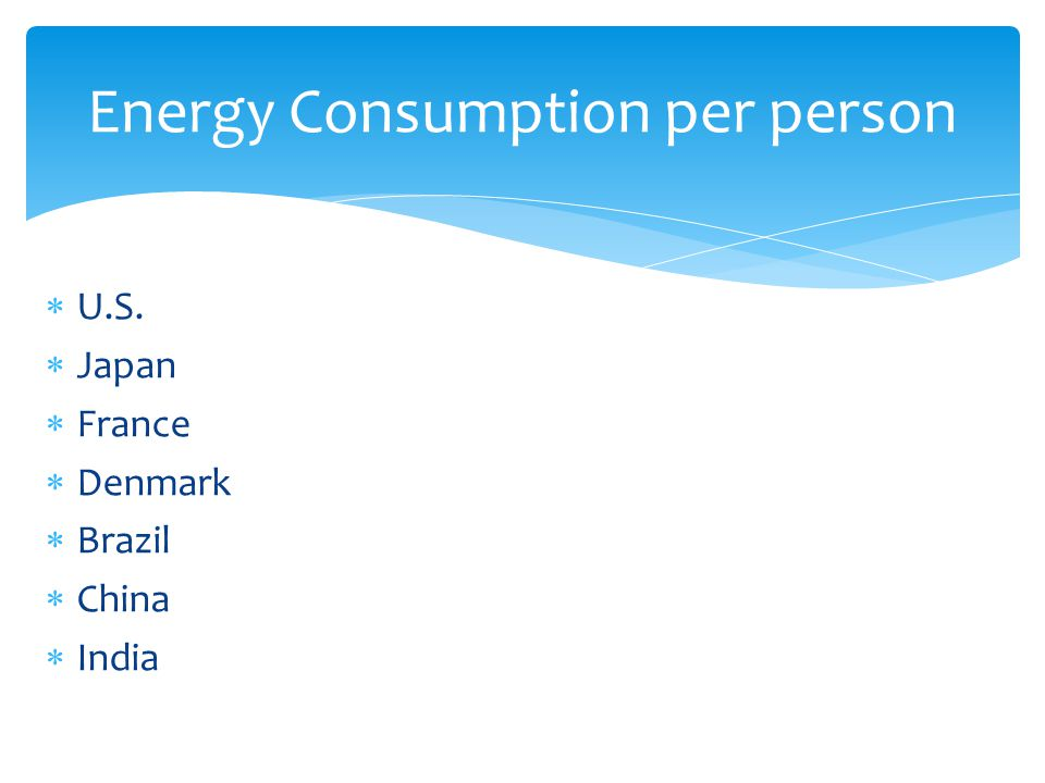  U.S.  Japan  France  Denmark  Brazil  China  India Energy Consumption per person