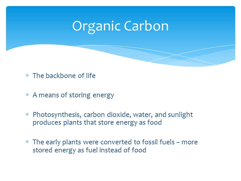  Methane is totally reduced carbon, has an oxidation state of -4  To calculate oxidation states we assign the common states to hydrogen and oxygen, then realize that the molecule has to be neutral, so the leftover number is assigned to carbon  Hydrogen is +1, there are four of them in methane, so the carbon must be -4  This is fully reduced carbon  Reduced carbon is easily oxidized  CH 4 + 2 O 2 → CO 2 + 2 H 2 O Oxidation states, electron bookkeeping