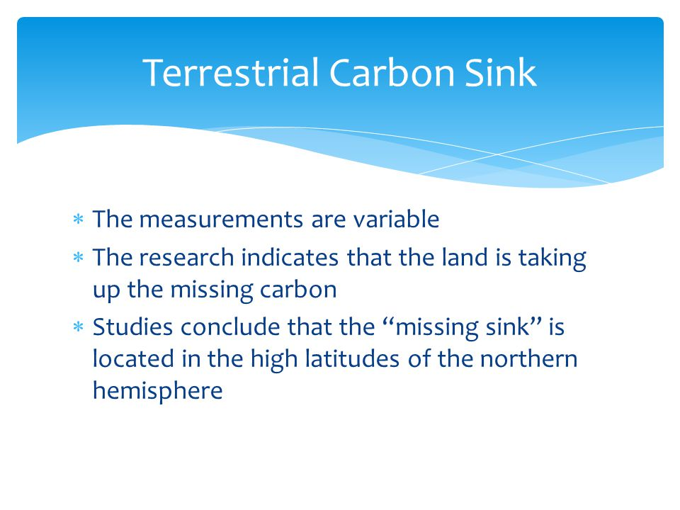  The measurements are variable  The research indicates that the land is taking up the missing carbon  Studies conclude that the missing sink is located in the high latitudes of the northern hemisphere Terrestrial Carbon Sink