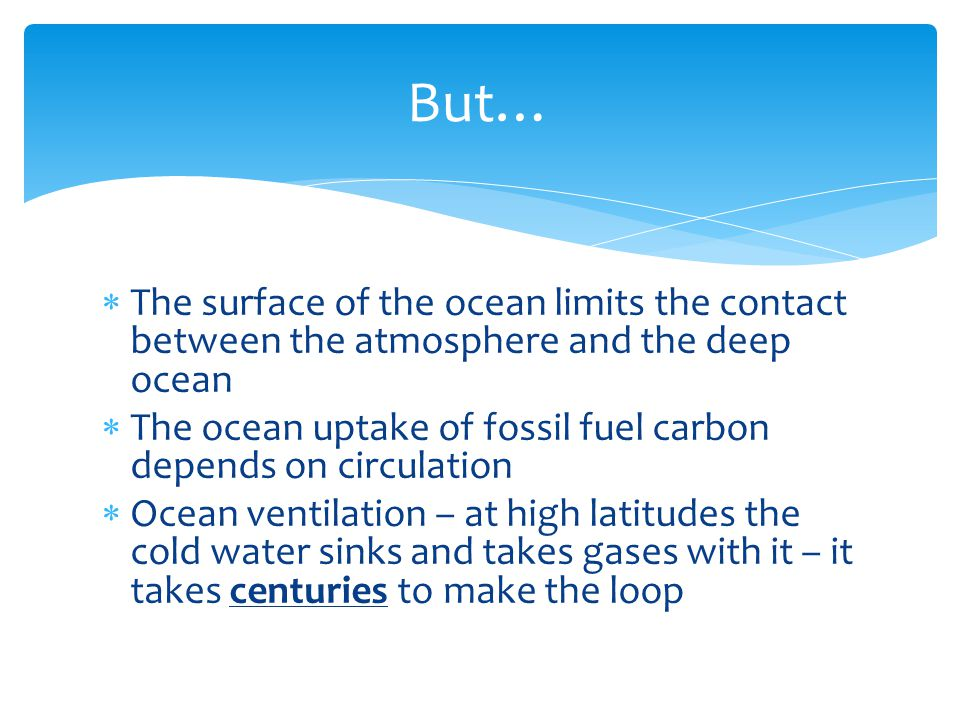  The surface of the ocean limits the contact between the atmosphere and the deep ocean  The ocean uptake of fossil fuel carbon depends on circulation  Ocean ventilation – at high latitudes the cold water sinks and takes gases with it – it takes centuries to make the loop But…
