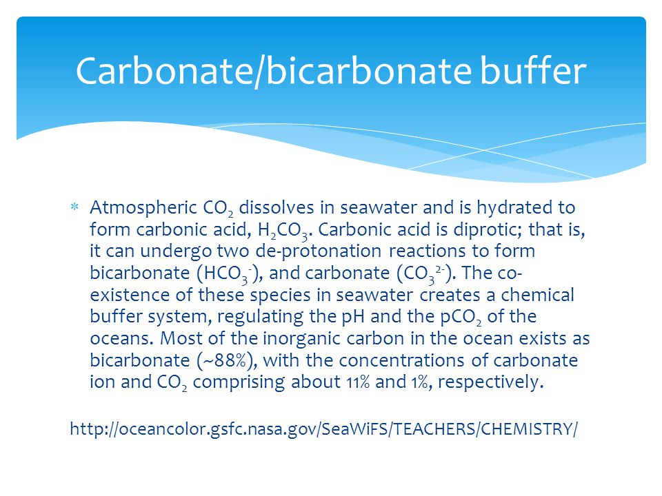  Atmospheric CO 2 dissolves in seawater and is hydrated to form carbonic acid, H 2 CO 3.