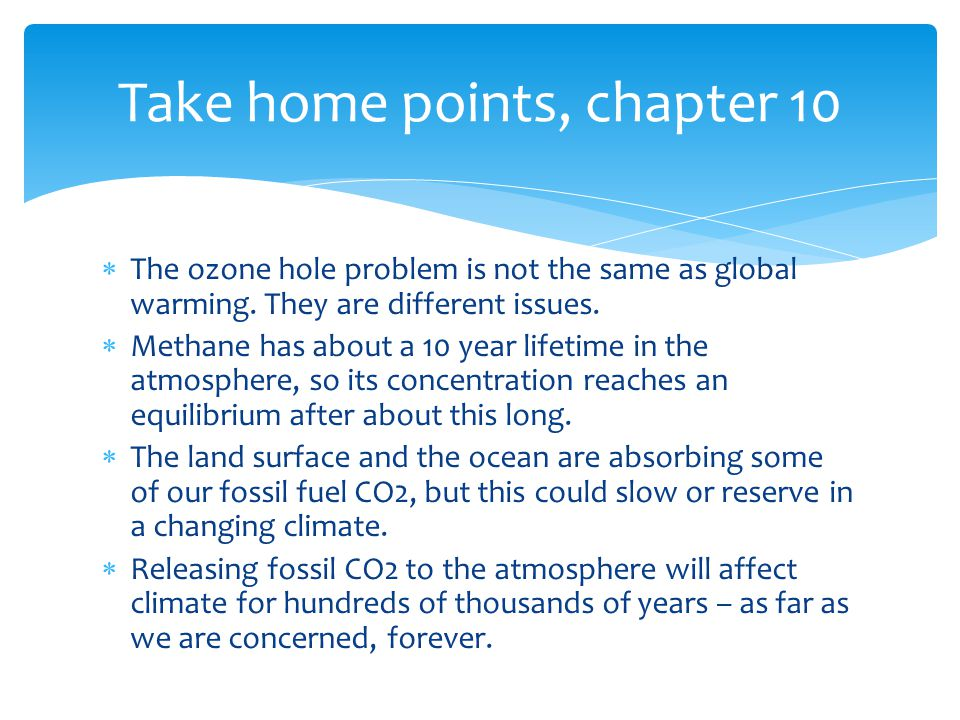  The ozone hole problem is not the same as global warming.