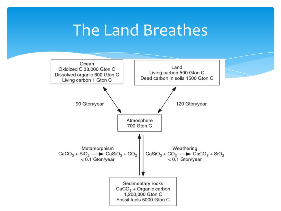  CO2 is complicated, and the atmosphere is the exchange place for the three remaining carbon reservoirs  Land cycles annually  Oceans cycle by centuries or more  Rock cycles by millennia or more Atmospheric CO2