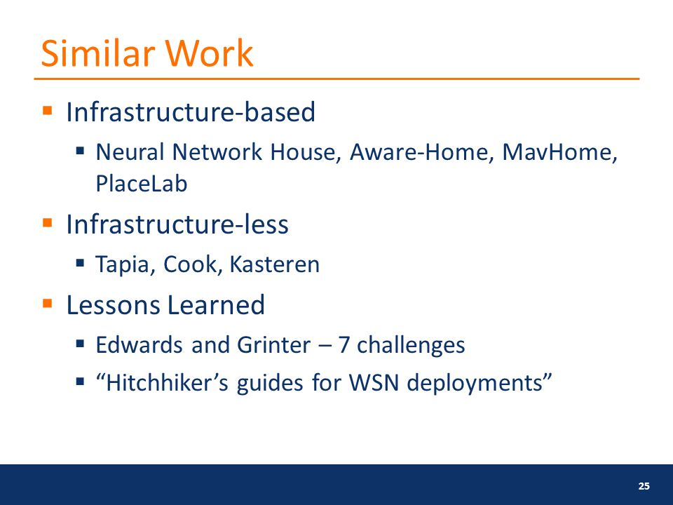 Similar Work  Infrastructure-based  Neural Network House, Aware-Home, MavHome, PlaceLab  Infrastructure-less  Tapia, Cook, Kasteren  Lessons Learned  Edwards and Grinter – 7 challenges  Hitchhiker's guides for WSN deployments 25