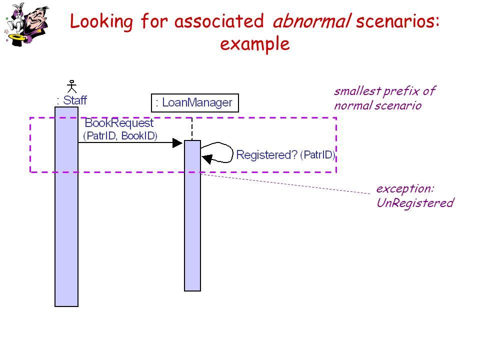Looking for associated abnormal scenarios: example exception: UnRegistered smallest prefix of normal scenario