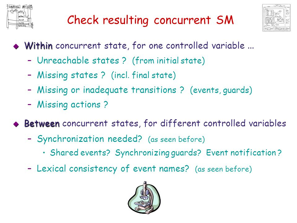 Check resulting concurrent SM  Within  Within concurrent state, for one controlled variable... –Unreachable states ? (from initial state) –Missing s