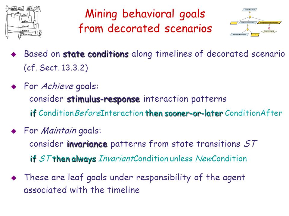 Mining behavioral goals from decorated scenarios state conditions  Based on state conditions along timelines of decorated scenario (cf. Sect. 13.3.2)