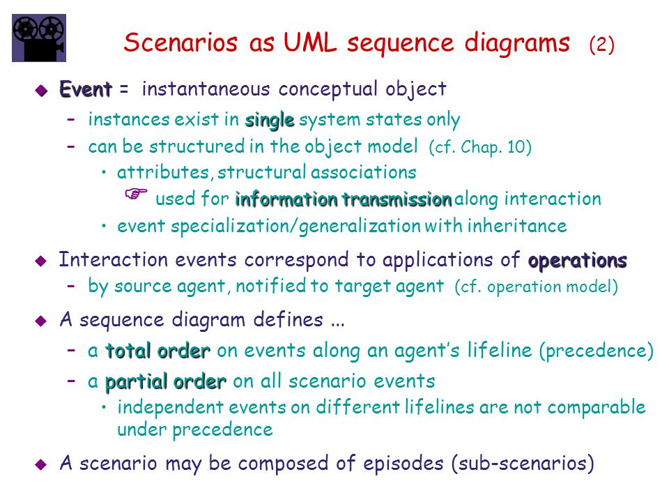 Scenarios as UML sequence diagrams (2)  Event  Event = instantaneous conceptual object single –instances exist in single system states only –can be