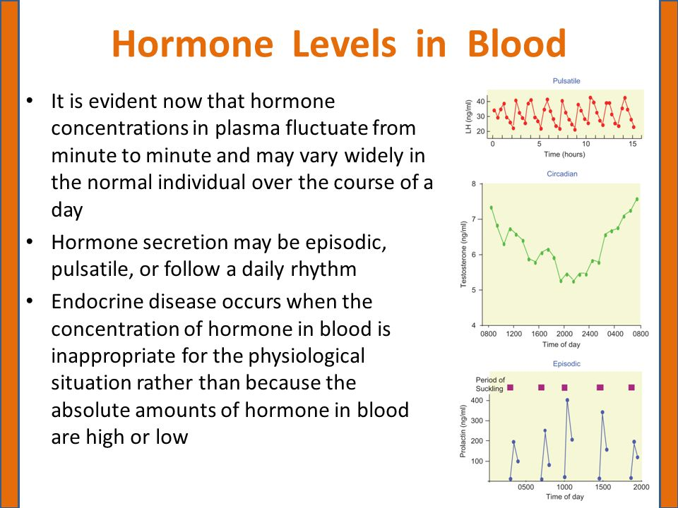 Hormone Levels in Blood It is evident now that hormone concentrations in plasma fluctuate from minute to minute and may vary widely in the normal indi