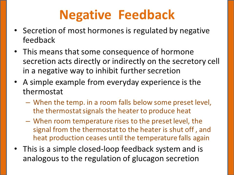 Negative Feedback of Hepatic Glucose Production by Glucagon A fall in blood glucose detected by the alpha cells of the islets of Langerhans causes them to release glucagon, which stimulates the liver to release glucose and thereby increase blood glucose concentrations With restoration of blood glucose to normal level or set point, further secretion of glucagon is inhibited