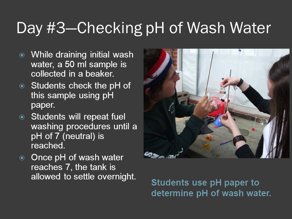 Day #3—Checking pH of Wash Water Students use pH paper to determine pH of wash water.
