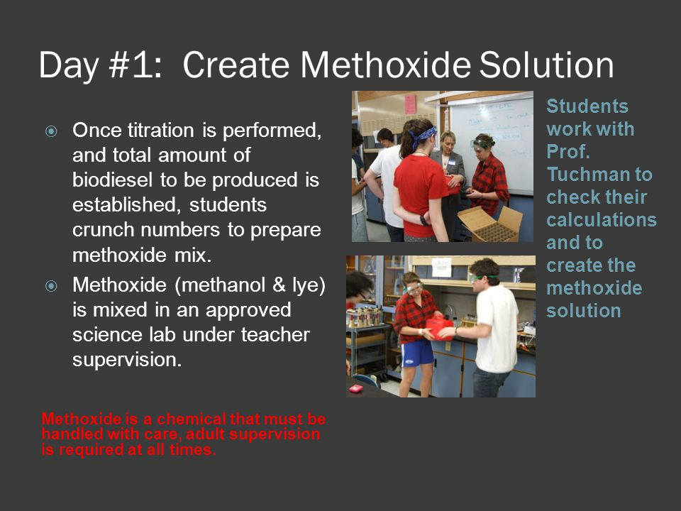 Day #1: Create Methoxide Solution Methoxide is a chemical that must be handled with care, adult supervision is required at all times.