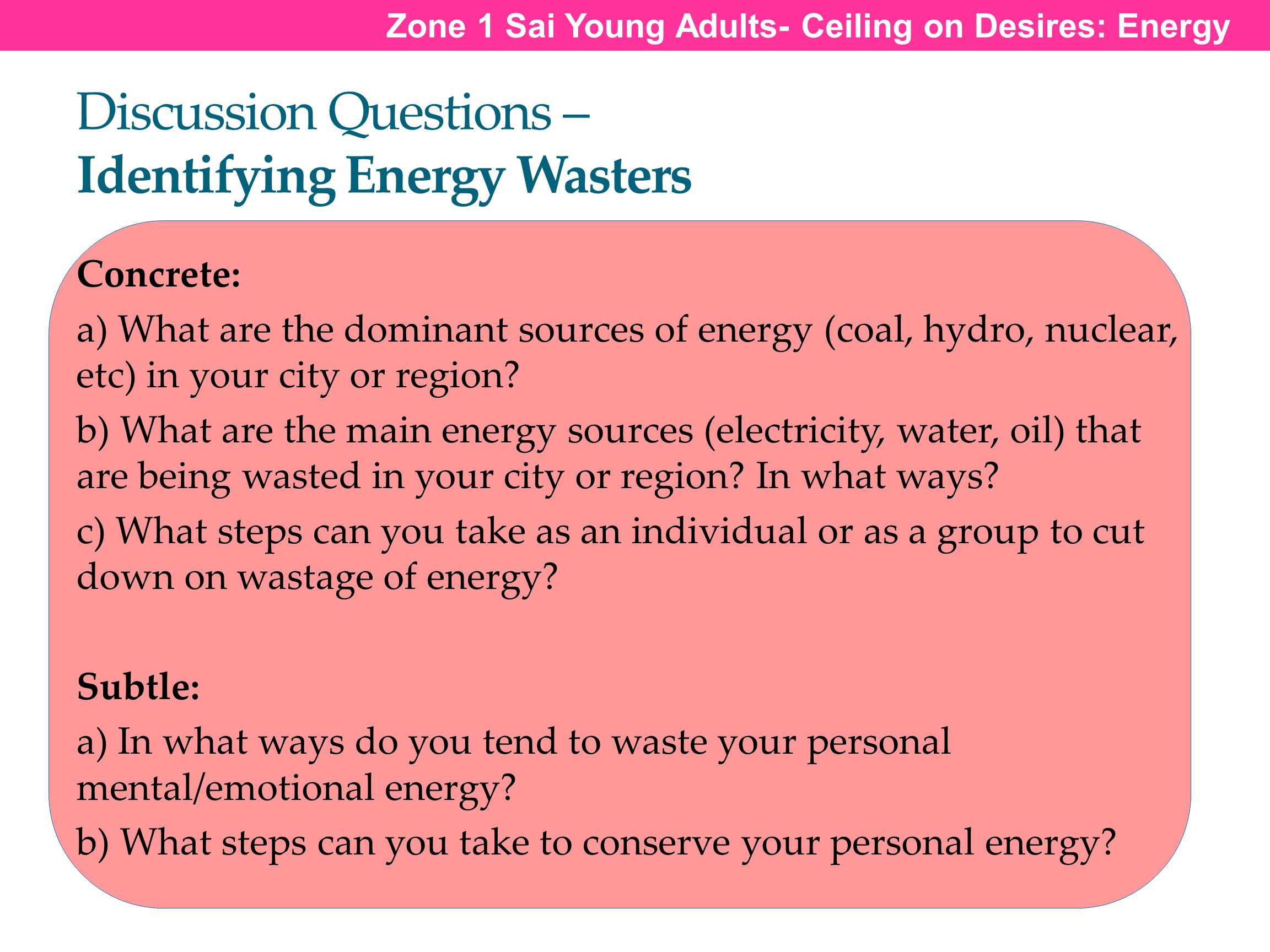 Discussion Questions – Identifying Energy Wasters Zone 1 Sai Young Adults- Ceiling on Desires: Energy Concrete: a) What are the dominant sources of en
