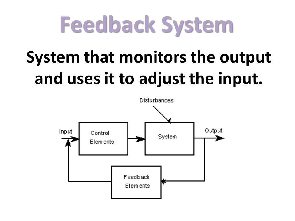 Feedback System System that monitors the output and uses it to adjust the input.
