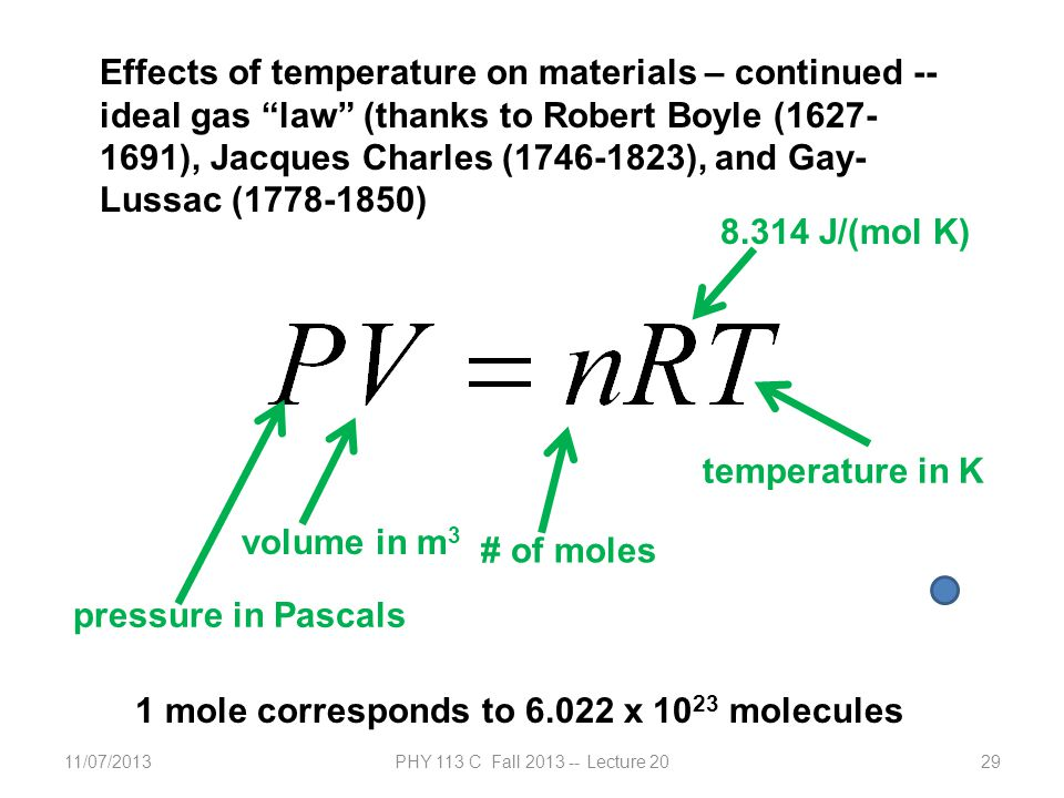 11/07/2013PHY 113 C Fall 2013 -- Lecture 2029 Effects of temperature on materials – continued -- ideal gas law (thanks to Robert Boyle (1627- 1691), Jacques Charles (1746-1823), and Gay- Lussac (1778-1850) pressure in Pascals volume in m 3 # of moles temperature in K 8.314 J/(mol K) 1 mole corresponds to 6.022 x 10 23 molecules