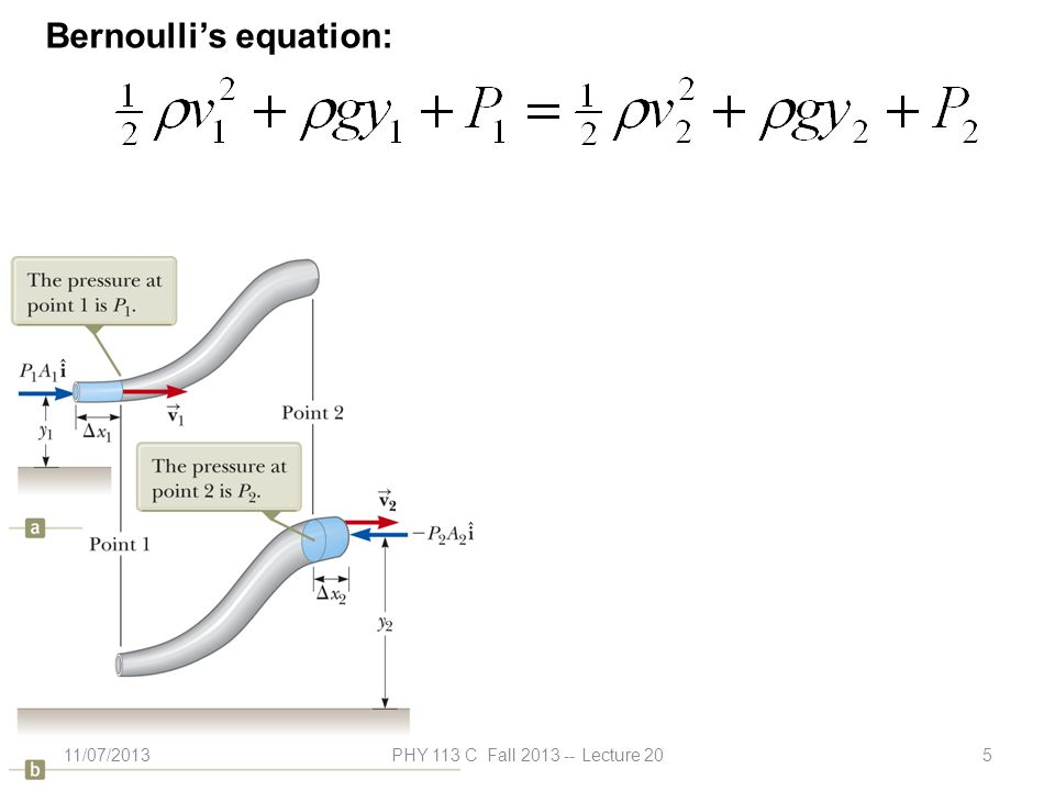11/07/2013PHY 113 C Fall 2013 -- Lecture 205 Bernoulli's equation: