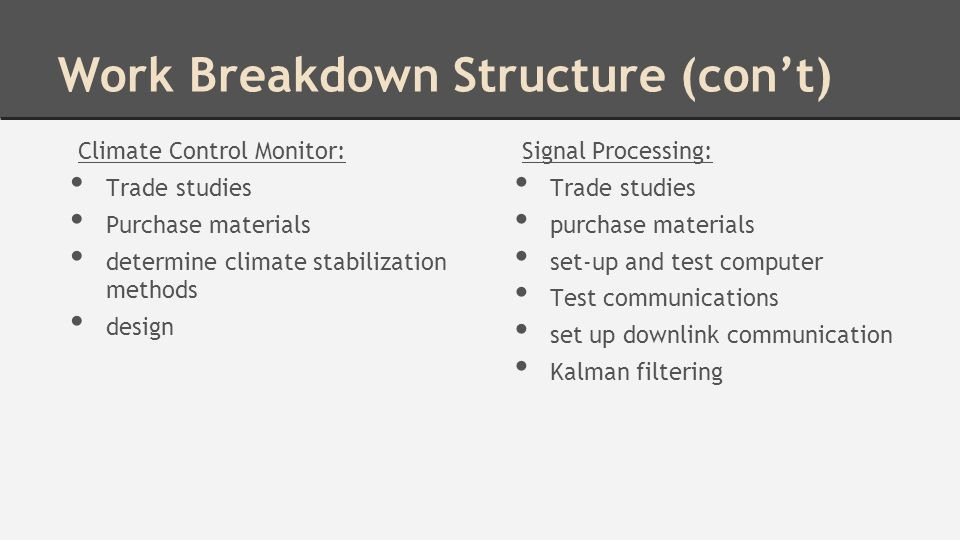 Work Breakdown Structure (con't) Climate Control Monitor: Trade studies Purchase materials determine climate stabilization methods design Signal Processing: Trade studies purchase materials set-up and test computer Test communications set up downlink communication Kalman filtering
