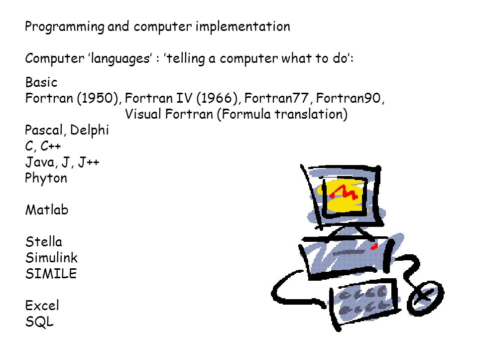 Computer 'languages' : 'telling a computer what to do': Basic Fortran (1950), Fortran IV (1966), Fortran77, Fortran90, Visual Fortran (Formula transla