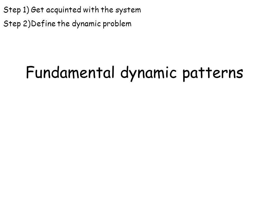 Fundamental dynamic patterns Step 1)Get acquinted with the system Step 2)Define the dynamic problem
