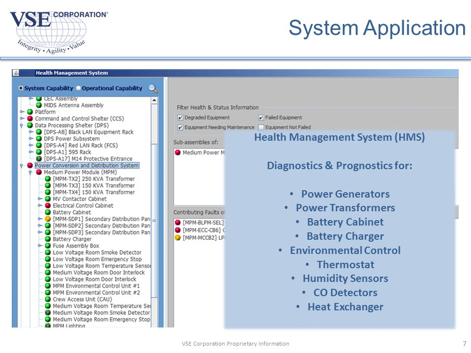 VSE Corporation Proprietary Information System Application Health Management System (HMS) Diagnostics & Prognostics for: Power Generators Power Transformers Battery Cabinet Battery Charger Environmental Control Thermostat Humidity Sensors CO Detectors Heat Exchanger 7