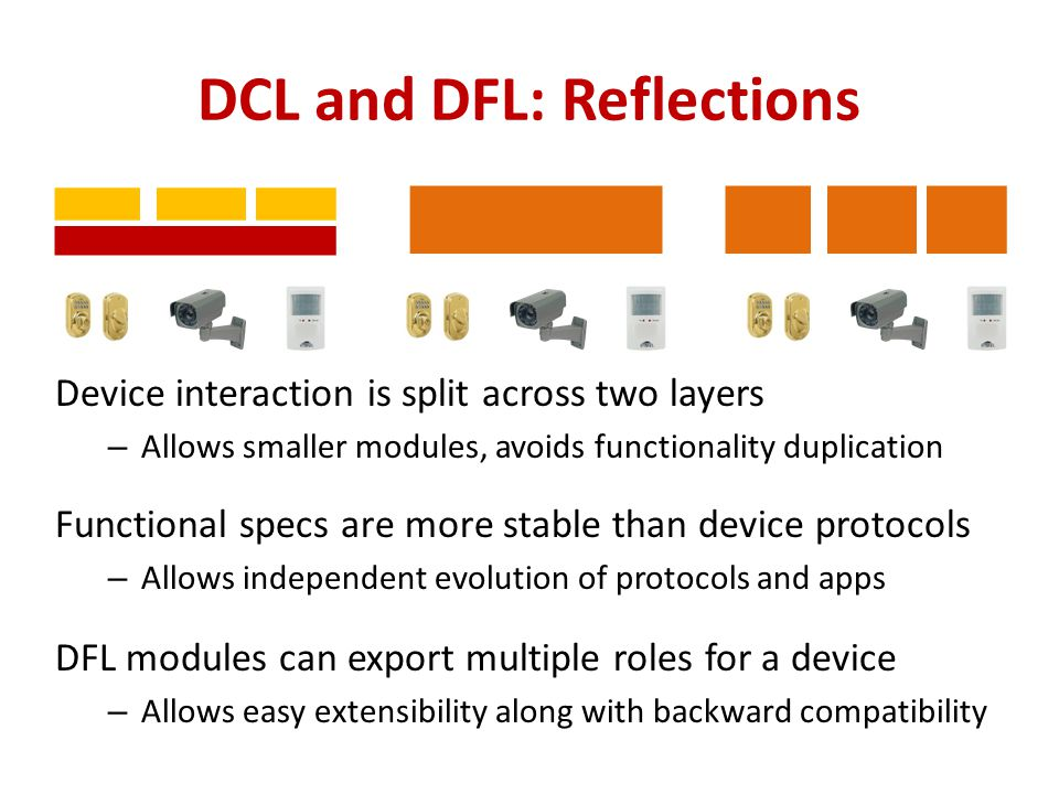 DCL and DFL: Reflections Device interaction is split across two layers – Allows smaller modules, avoids functionality duplication Functional specs are
