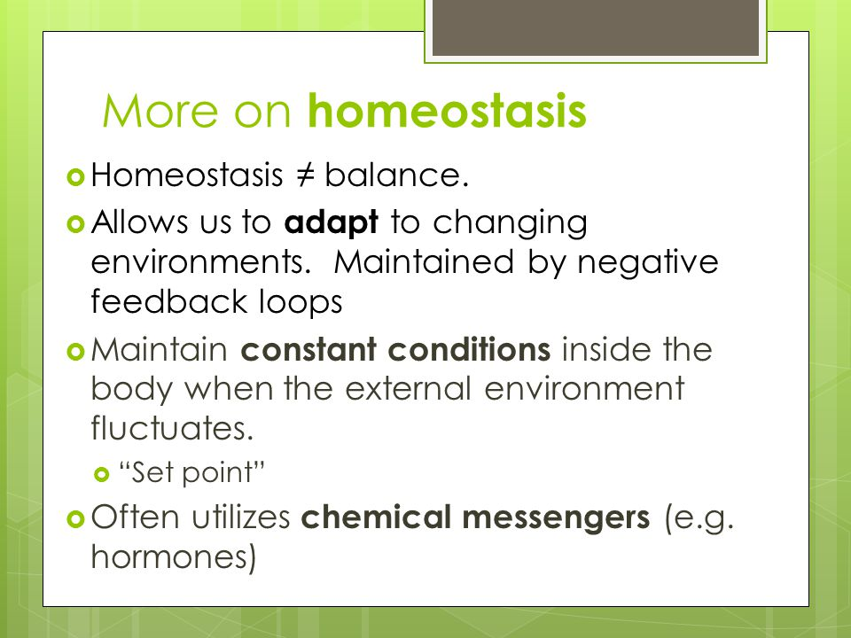 More on homeostasis  Homeostasis ≠ balance.  Allows us to adapt to changing environments. Maintained by negative feedback loops  Maintain constant