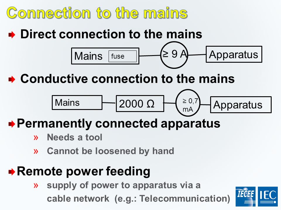 Direct connection to the mains Conductive connection to the mains Permanently connected apparatus » Needs a tool » Cannot be loosened by hand Remote p