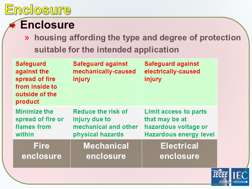 Enclosure » housing affording the type and degree of protection suitable for the intended application Safeguard against the spread of fire from inside