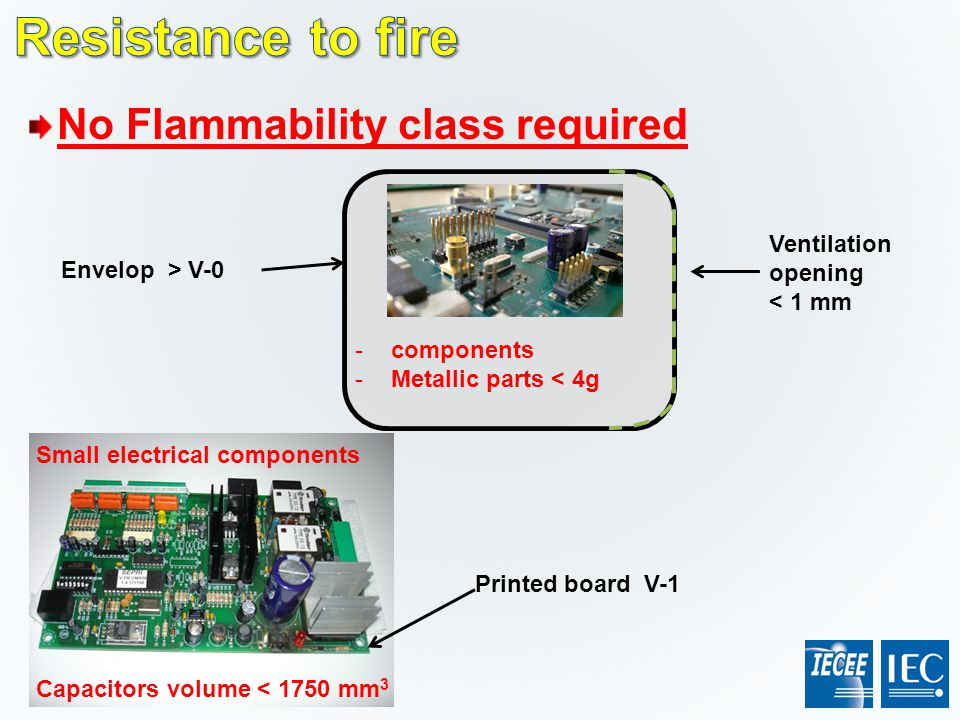 No Flammability class required Ventilation opening < 1 mm Envelop > V-0 -components -Metallic parts < 4g Capacitors volume < 1750 mm 3 Printed board V