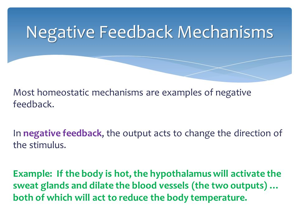 Most homeostatic mechanisms are examples of negative feedback. In negative feedback, the output acts to change the direction of the stimulus. Example: