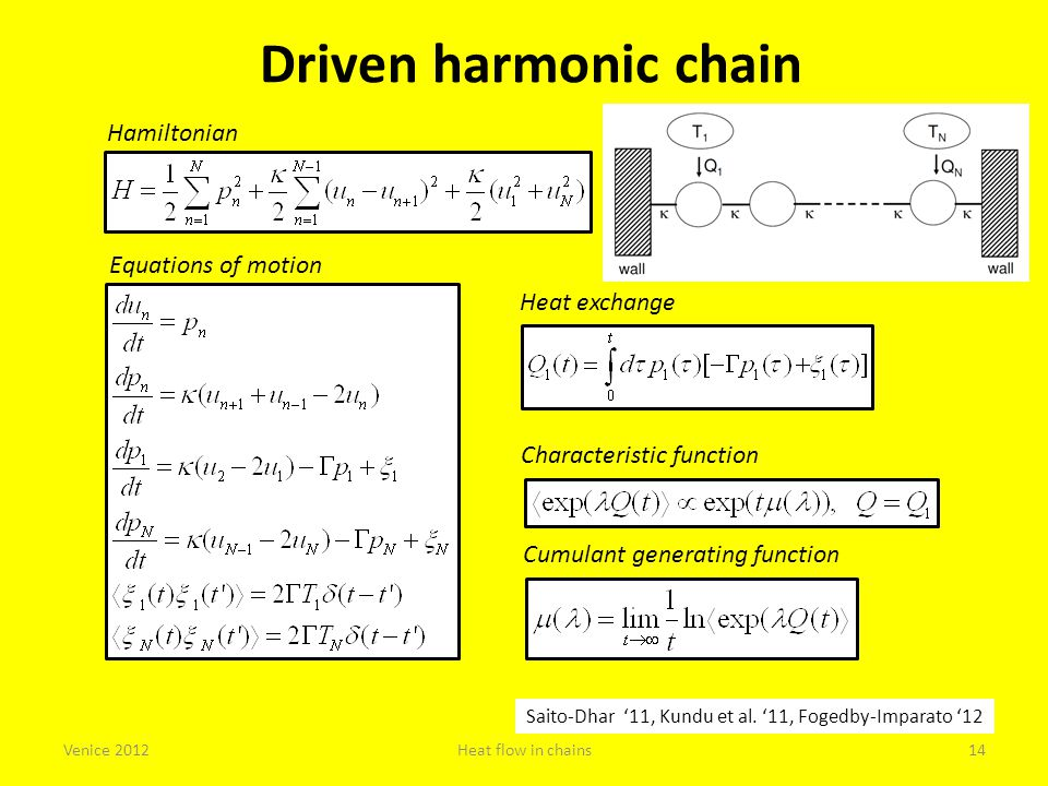 Driven harmonic chain Hamiltonian Equations of motion Heat exchange Characteristic function Cumulant generating function Saito-Dhar '11, Kundu et al.