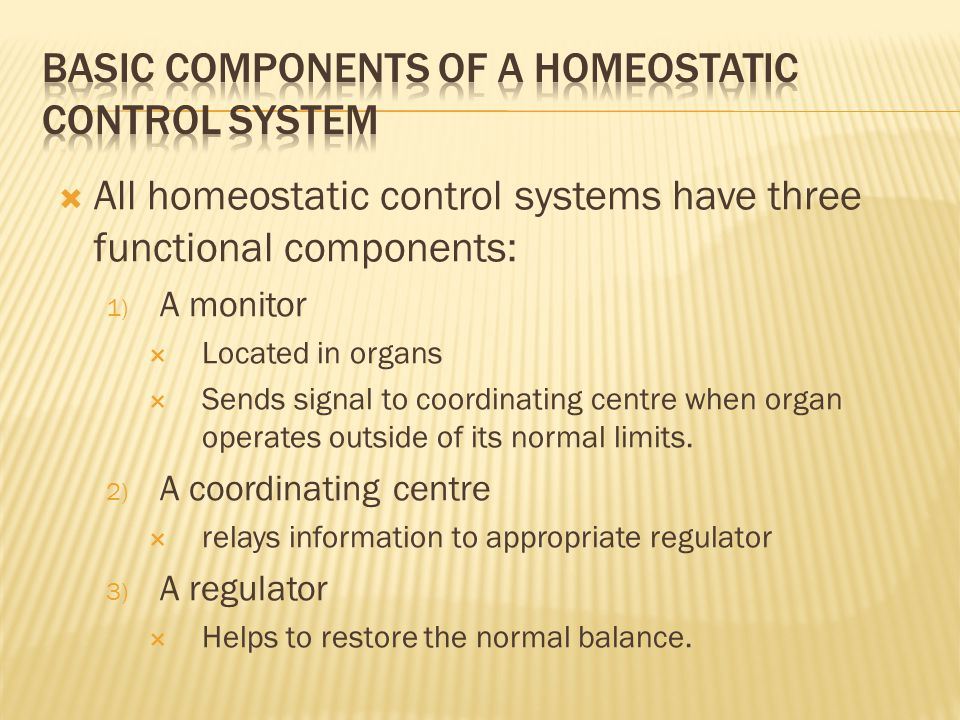  All homeostatic control systems have three functional components: 1) A monitor  Located in organs  Sends signal to coordinating centre when organ operates outside of its normal limits.