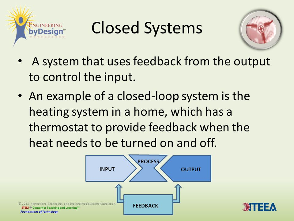 © 2011 International Technology and Engineering Educators Association, STEM  Center for Teaching and Learning™ Foundations of Technology Closed Syste