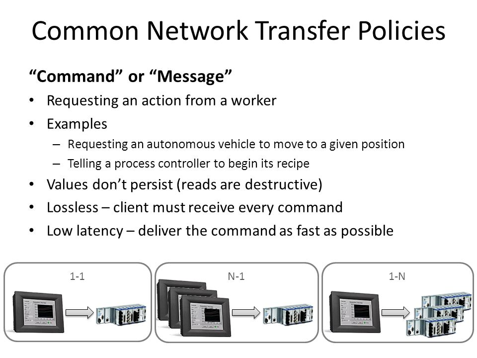 "Common Network Transfer Policies ""Command"" or ""Message"" Requesting an action from a worker Examples – Requesting an autonomous vehicle to move to a gi"