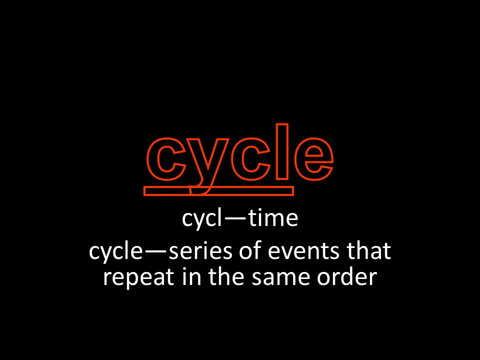 cycl—time cycle—series of events that repeat in the same order