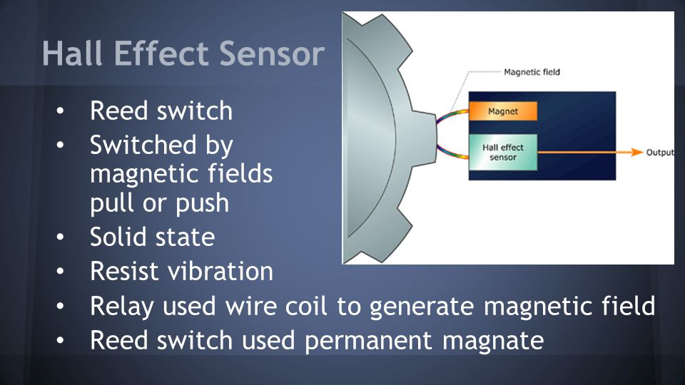 Hall Effect Sensor Reed switch Switched by magnetic fields pull or push Solid state Resist vibration Relay used wire coil to generate magnetic field R