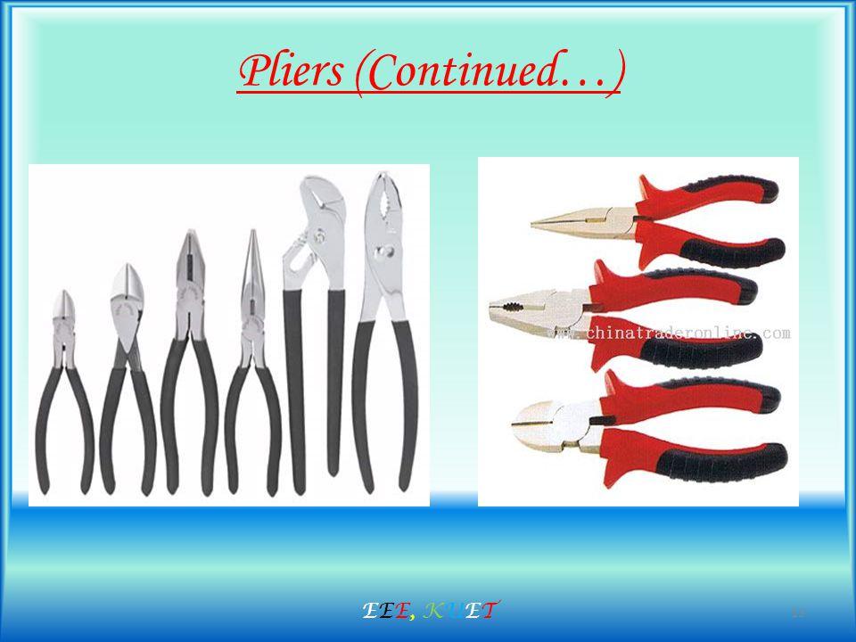 Pliers (Continued…) 13 EEE, KUETEEE, KUET