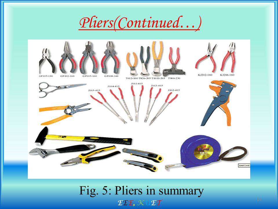 Pliers(Continued…) Fig. 5: Pliers in summary 14 EEE, KUETEEE, KUET