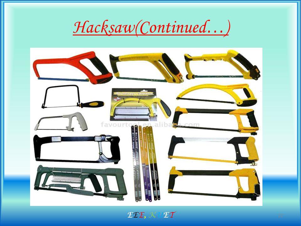 Hacksaw(Continued…) 22 EEE, KUETEEE, KUET