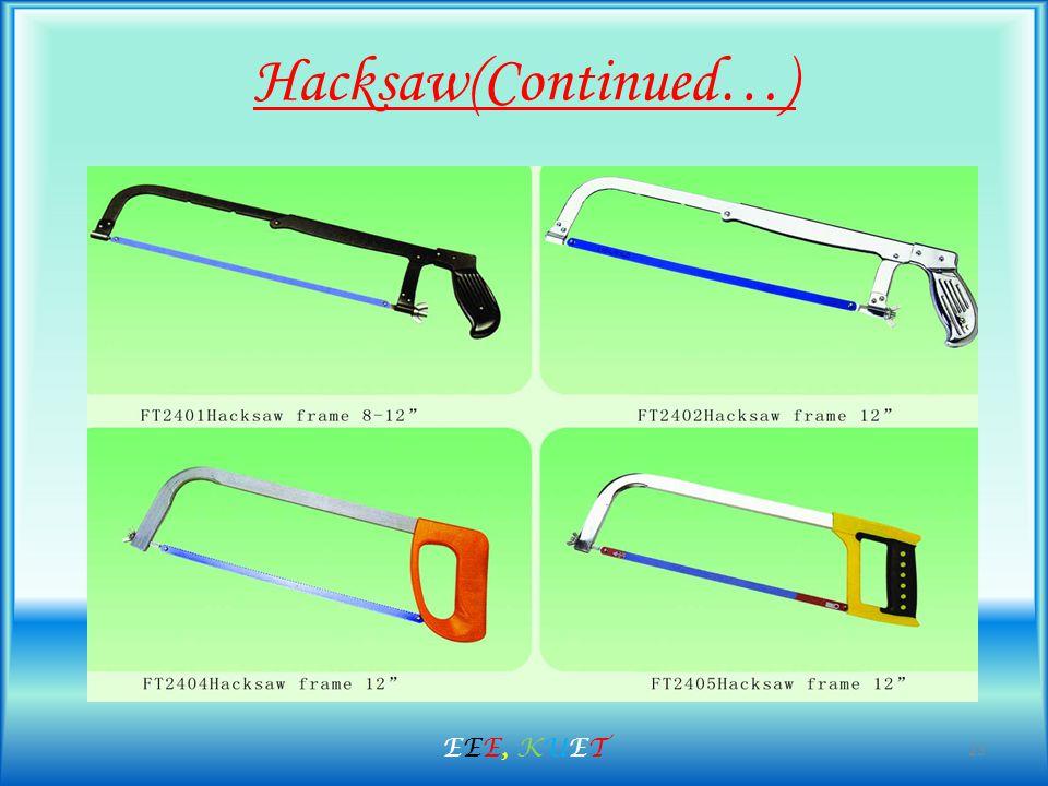 Hacksaw(Continued…) 23 EEE, KUETEEE, KUET